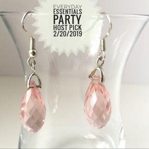 Jewelry - Vintage Pink Crystal & Silver Dangle Earrings